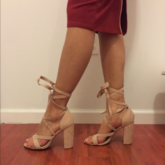 23f2e6a592b Forever 21 Shoes - F21 nude strappy lace up heel